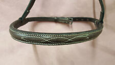 "English Brown Leather Fancy Stitched 1/2"" Noseband Full Size"