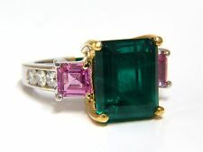GIA Certified 8.73ct lab emerald pink sapphire diamonds ring 14kt