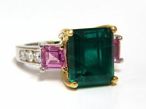 GIA Certified 8.73ct lab emerald pink sapphire diamonds ring 14kt+