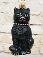 Vintage Christmas Halloween Ornament Poland Blown Glass Black Cat Necklace