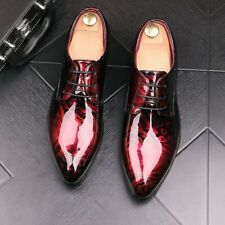 Mens Patent Leather Pointed Toe Business Formal Lace Up Oxfords Wedding Shoes