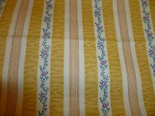 "3 yds 7""  French Country Cottage Chic yellow floral ticking - heavy wt fabric"