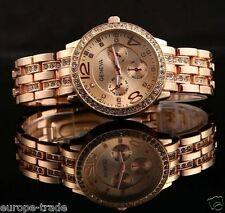 Geneva Chronograph Designer Style Ladies Women Rhinestone ROSE GOLD Watch