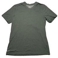 Nike Dri-Fit Men's Size Medium V Neck T Shirt Forest Green Black Swoosh Check