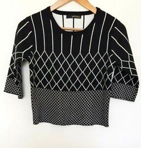 JUST CAVALRY Ladies Designer Black/White Geo Print Knit Skirt/Top Set size M NWT