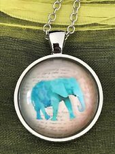 Blue Wild Elephant Glass Cabochon Dome Pendant Necklace. Safari. High Quality