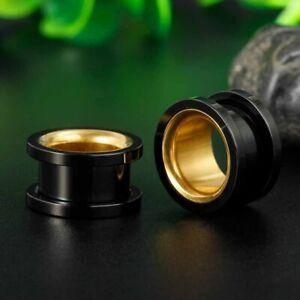 GOLD INNER BLACK METAL Ear Flesh Tunnels Piercing Stretcher Plug Flared TU204