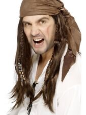 Brown Buccaneer Pirate Wig Braids/Bandana Adult Mens Smiffys Fancy Dress Costume