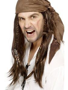 Brown Buccaneer Pirate Wig Braids/Bandana Adult Mens Smiffys Fancy Dress Costume