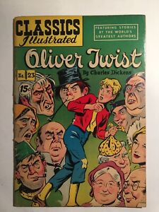 Classics Illustrated #23 Oliver Twist HRN 118 Charles Dickens VG/FN