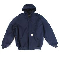 Carhartt Mens Work Jacket Blue Large L Thermal-Lined Duck Active Hooded $139 903