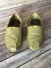 Toms Classics Size 7 M Women Gold Glitter Slip On Flat Boat Shoes