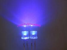 50pcs, 5mm Purple UV Flat Top LED Wide Angle Water Clear Light Leds + Resistors