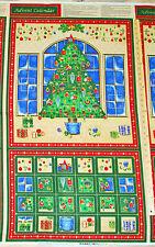 Christmas Tree Seasons Greetings Advent Calendar Christmas Fabric Panel #40102
