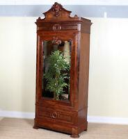 Antique Mirrored Rococo Armoire Wardrobe Tall 19th Century Victorian