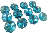 50 Metallic Aqua Octagon Chandelier Crystal Beads Aquamarine Suncatcher Octagons