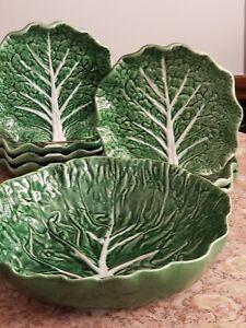 1970's Bordallo Pinheiro Green Cabbage Leaf Portugal  8 piece set plates platter