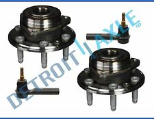 New Pair (2) Front Wheel Hub and Bearing Set + Front Outer Tie Rod Ends
