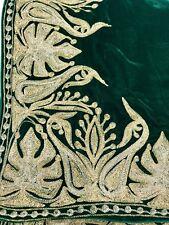 Green Velvet Cape, Royal Kashmiri Orni, Shawl, Green Velvet Embroidered Poncho