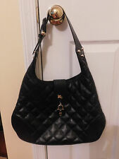 BURBERRY BROOK QUILTED BLACK LEATHER HOBO HAND BAG GOLD HARDWARE