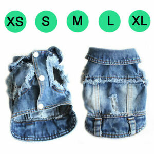 Classic Pet Dog Denim Vest Jacket Clothes Puppy Cat Holes Jeans Coat Pet Costume