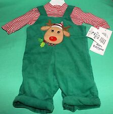 CHRISTMAS BABY BOY 2 PC REINDEER HOLIDAY OUTFIT GREEN RED 6 MO RARE EDITON NEW