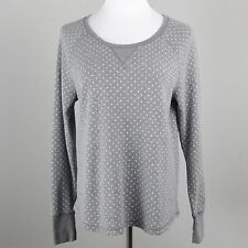 Womens Xhilaration XL Shirt Gray Loose Top Polka Dot Scoop Neck Waffle Knit Tee
