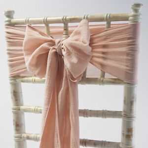 CHEESECLOTH CHAIR BOWS SASHES RUSTIC CHAIR COVER 7 COLOURS DECOR WEDDING