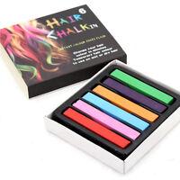 Temporary Non-Toxic Hair Chalk Rainbow Colored 6, 12, 24, 36 Pcs Soft Dye Kit UK