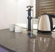 Pop Pull up Kitchen Worktop 3 Plug Sockets 2 USB Ports & Audio Speaker Silver