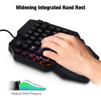 Mini One-Handed Gaming Keyboard RGB LED Backlit USB Wired Game 39 Key Accessory