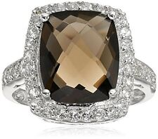 Amazon Collection Sterling Silver Smoky Quartz Ring Size 6