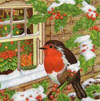 4 Motivservietten Servietten Napkins Tovaglioli  Weihnachten Winter Vogel (915)