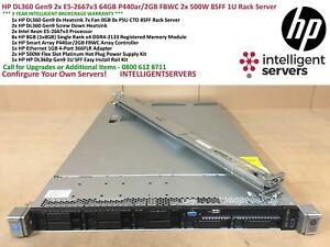 HP DL360 Gen9 2x E5-2667v3 64GB P440ar/2GB FBWC 2x 500W 8SFF 1U Rack Server
