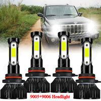 For 2007-2010 Jeep Commander 6000K White 4x LED Headlight High&Lo Beam Bulbs Kit