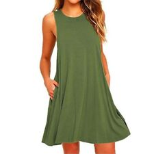 Women Casual Swing Sundress Sleeveless Solid Loose T-Shirt Dress with Pocket