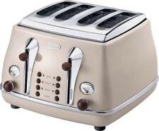 DeLonghi CTOV4003BG Vintage Icona 4 Slice Toaster - Cream