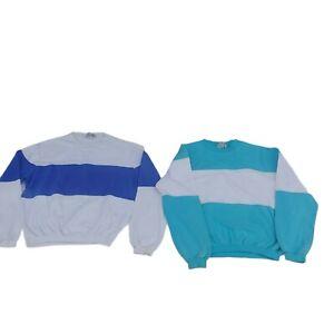 Vintage LL Bean Youth M Sweatshirts Pair Striped Farm Camp Play Work Shirts Kids