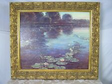 Reproduction Painting with Matte Finish Lily Pads Flowers Water Trees