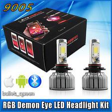 9005 HB3 2 in 1 60W LED Headlight Bulb Kit + RGB Demon Eye Bluetooth App-enabled