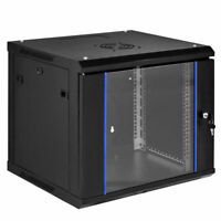 "9U Wallmount Data Cabinet Enclosure 19"" Server Network Rack w Locking Glass Door"