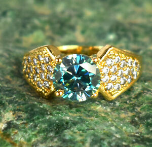4.33 Ct Green Diamond Solitaire Halo Gold Finish Silver Ring