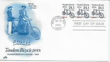 US Scott #2266, First Day Cover 10/26/88 Redmond Plate #1 Coil Tandem Bicycle