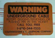 ~Vintage Large Southwestern Bell Telephone Underground Cable Hunter Orange Sign~