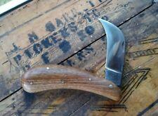 Vintage TINA  German Pruning Pocket Knife Light Brown Solid Walnut Handle