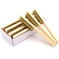 6x16 Row Wood Handle Brass Wire Brush Cleaning Grinding Polishing Surface/Inner