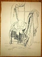 Flora Schofield Chicago Woman WPA Artist Drawing Living Room Interior Hat Rare!!