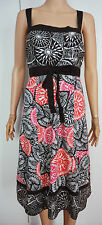 01 New Monsoon size 18 Brown White Red Embroidered Tea Summer Dress