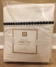 NEW Pottery Barn Teen Pop Dot FULL Sheet Set BLACK WHITE