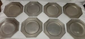 Lot of 8 VINTAGE INTERNATIONAL SILVER Co. Octagon Pewter Dinner  Plate